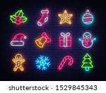 christmas neon icons set. happy ... | Shutterstock .eps vector #1529845343