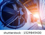 Small photo of Metal industrial air conditioning vent. HVAC. Ventilation fan background.