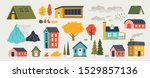 cute houses. trendy rural hand... | Shutterstock .eps vector #1529857136