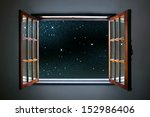 room window wide open to a calm ... | Shutterstock . vector #152986406