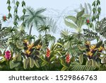 seamless border with jungle... | Shutterstock .eps vector #1529866763