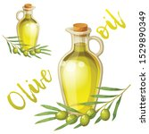 cartoon olive oil bottle and... | Shutterstock .eps vector #1529890349