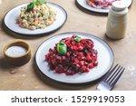 Stock photo russian food on wooden background assortment salad of russian cuisine olivier salad vinaigrette 1529919053