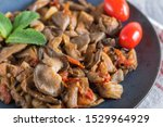 fried oyster mushrooms with... | Shutterstock . vector #1529964929