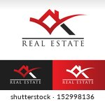 real estate logo icon with roof ... | Shutterstock .eps vector #152998136