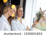 young girlfriends holding... | Shutterstock . vector #1530001853