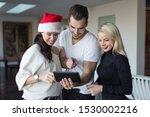 happy young friends online... | Shutterstock . vector #1530002216