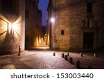 Night View Of Old Narrow Street ...