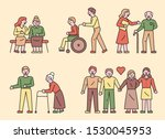 young people helping older... | Shutterstock .eps vector #1530045953