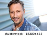 smiling man standing by modern... | Shutterstock . vector #153006683
