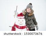 Cute Little Boy Made Snowman I...