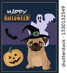 poster for the halloween pug | Shutterstock . vector #1530152549