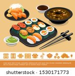 flat traditional japanese food... | Shutterstock .eps vector #1530171773
