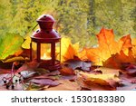 Colored Autumn Leaves And A Red ...
