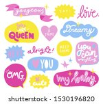 funny set collection lettering. ... | Shutterstock .eps vector #1530196820