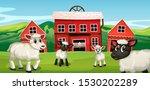 farm scene with sheep...   Shutterstock .eps vector #1530202289