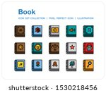 book icons set. ui pixel...