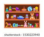 kid toys on shelves. children... | Shutterstock .eps vector #1530223940