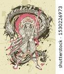 dragon and japanese samurai... | Shutterstock .eps vector #1530226973