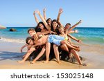 group of happy teens at the... | Shutterstock . vector #153025148