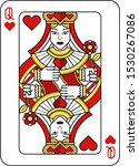 a playing card queen of hearts...   Shutterstock .eps vector #1530267086
