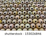 the row from many jars of clay... | Shutterstock . vector #153026846