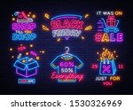 big set black friday neon signs.... | Shutterstock .eps vector #1530326969