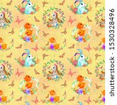 easter seamless pattern with...   Shutterstock . vector #1530328496