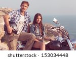 stylish couple on a motorcycle. ... | Shutterstock . vector #153034448