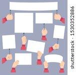 hands holding banners.... | Shutterstock .eps vector #1530352886