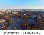 Aerial view of sunset at Ibirapuera