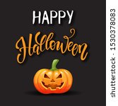happy halloween greeting card.... | Shutterstock .eps vector #1530378083