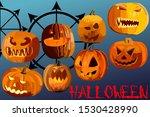 set of eight pumpkins for... | Shutterstock .eps vector #1530428990
