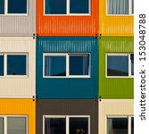 Cargo Containers in Many Colors Used as Apartment by Students to  Solve Housing Problem - stock photo