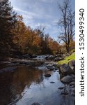 Little fall on Brewster river in fall in Jeffersonville, Vermont