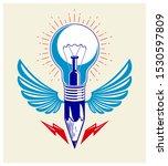 Pencil With Idea Light Bulb...