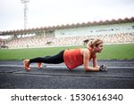 young fit blond woman  wearing... | Shutterstock . vector #1530616340