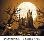spooky halloween night  holiday ... | Shutterstock .eps vector #1530617783