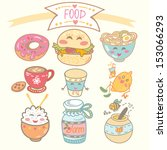 cute cartoon set of funny food. | Shutterstock .eps vector #153066293