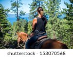 Women On Horseback Looking Out...