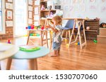 adorable toddler playing around ... | Shutterstock . vector #1530707060