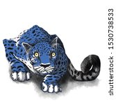 Stock photo blue leopard pouncing blue leopard print jaguar stalking prey predator in the wild big cat 1530738533