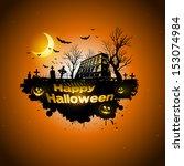 multiple orange halloween... | Shutterstock .eps vector #153074984