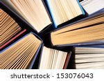 old and used hardback books or... | Shutterstock . vector #153076043