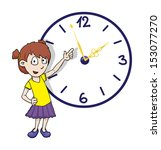 cute girl pointing at a clock ... | Shutterstock .eps vector #153077270