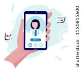 virtual doctor on your phone...   Shutterstock .eps vector #1530815600