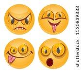 vector funny monster face set... | Shutterstock .eps vector #1530839333