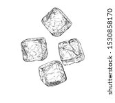 hand drawn sketch ice cube.... | Shutterstock .eps vector #1530858170