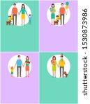 happy family icon in cartoon... | Shutterstock . vector #1530873986