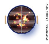 round blue open barbecue grill. ... | Shutterstock .eps vector #1530877049
